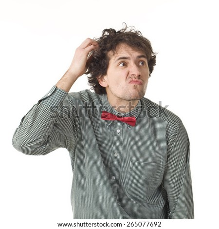 Thinking Handsome Man With Bow Tie And Funny Face. - stock photo