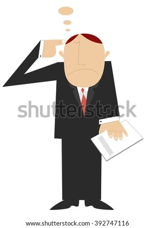 Thinking man points a finger to his head - stock photo