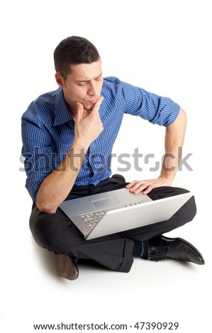 thinking man with laptop - stock photo