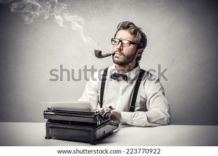 Thinking of something to write down  - stock photo