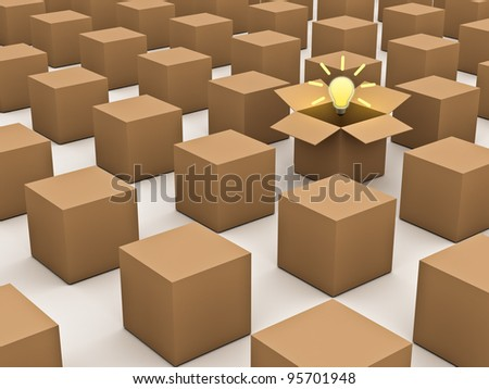 Thinking outside the box and individuality concept, one opened cardboard box with idea light bulb standing out in the crowd on white background - stock photo