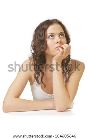 thinking sad girl isolated on white background - stock photo