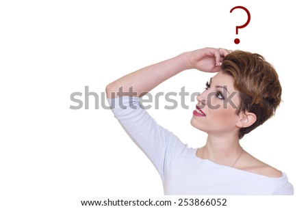 Thinking smiling woman with questions mark above head looking up isolated on white background. space for text. Soft focus - stock photo