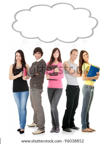 Thinking students with thought bubble with copy space on white background. - stock photo