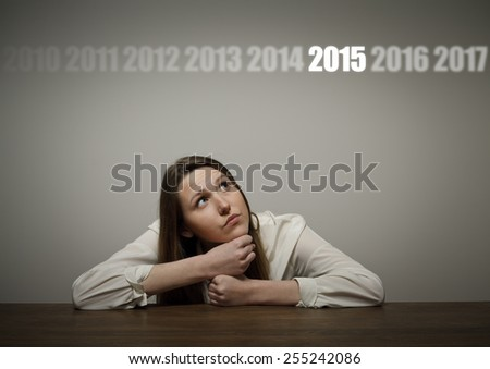 Thinking. The concept of the year two thousand and fifteen. - stock photo