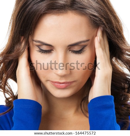Headache young woman isolated over white background stock photo