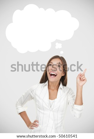 Thinking woman having an idea. Including thought bubble with copy space on grey background. - stock photo