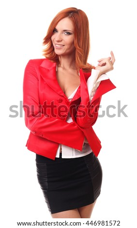 Thinking woman in red isolated on white background. - stock photo