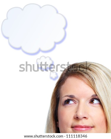 Thinking woman. Isolated on white background.