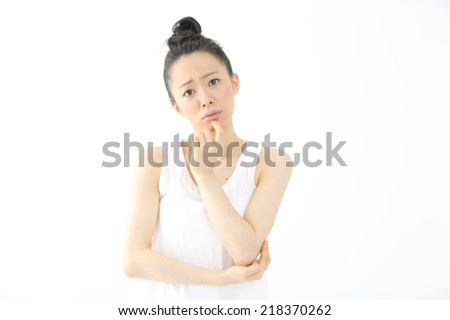 thinking woman isolated on white background - stock photo