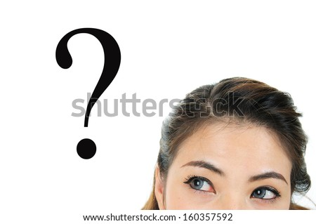 Thinking women with question mark - stock photo