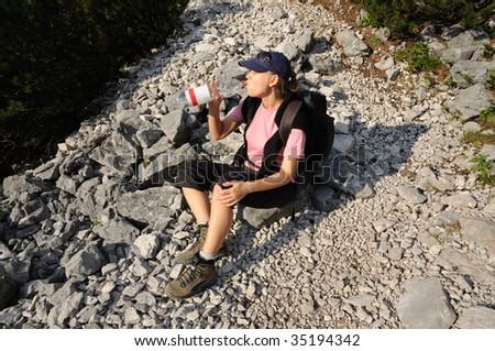 Thirsty hiker - stock photo