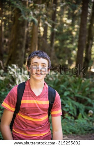 thirteen year old boy hiking