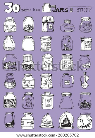 thirty doodle icons illustration JARS candy sweets jam pickles coffee powder sugar funny simple design purple