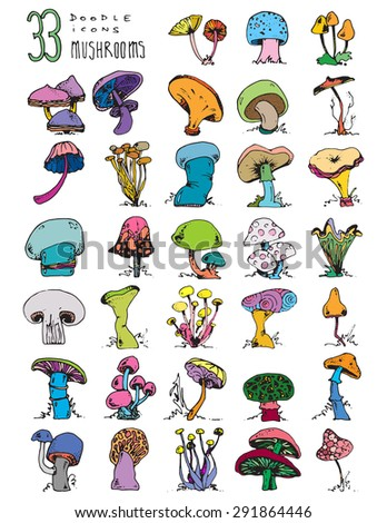 thirty doodle icons MUSHROOMS nature simple drawing color A