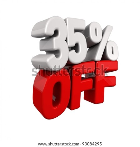 thirty-five Percent Automatic Reduction. 3d text for 35% OFF in red and white angled obliquely away from camera isolated on white - stock photo