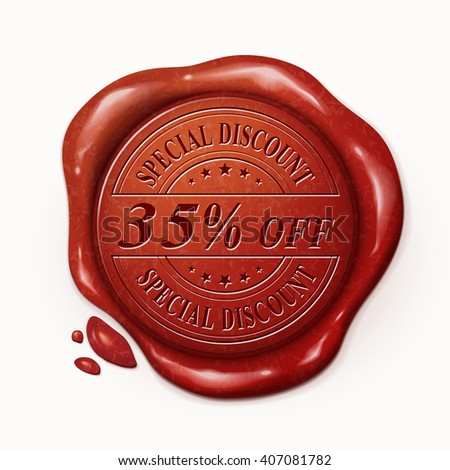 thirty five percent off red wax seal over white background
