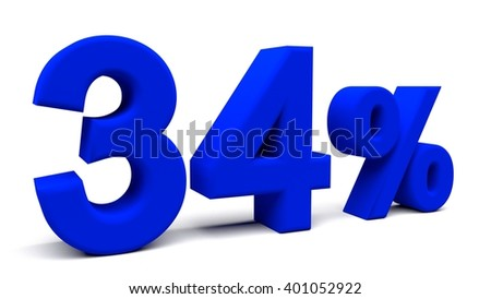 Thirty four percents 3D text, with big fonts isolated on white background. 3D rendering.