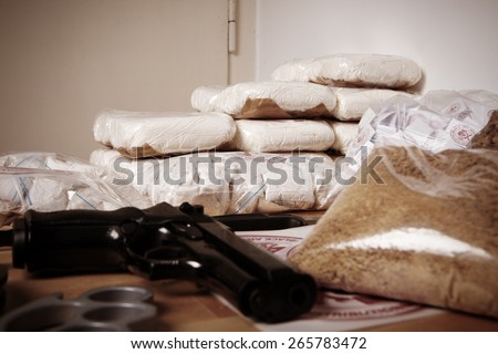 Thirty kilos of drugs - stock photo