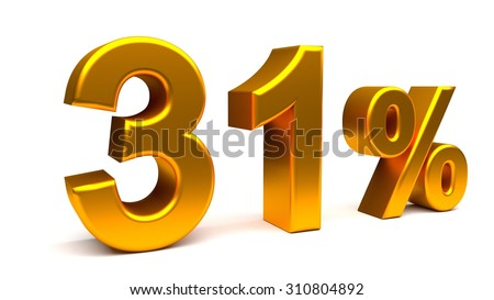Thirty one percents 3D text, with big golden fonts isolated on white background. Rendered illustration.