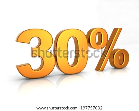 Thirty percent 3D text on white background