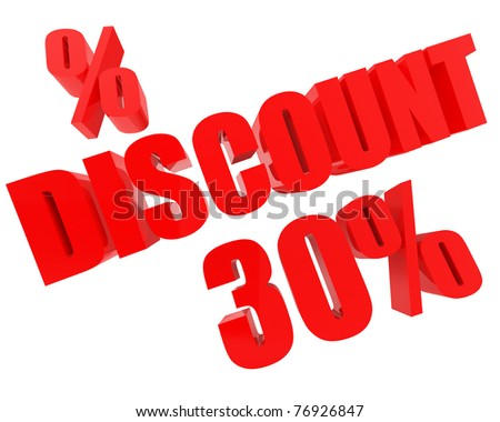 thirty percent discount isolated over white