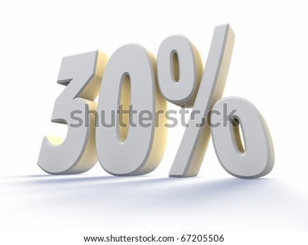 Thirty percent, large white number with backlit, isolated on white background. 30% - stock photo