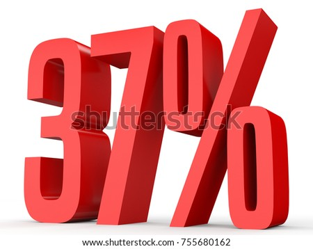 Thirty seven percent off. Discount 37 %. 3D illustration on white background.