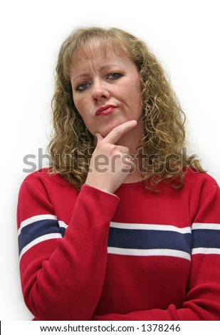 Thirty-something caucasian white female looking skeptical and distrustful - stock photo