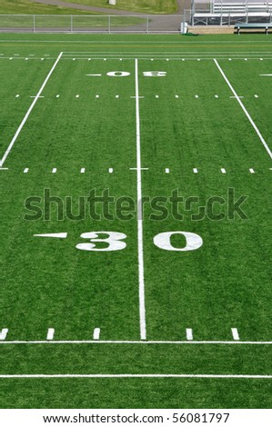 Thirty Yard Line on American Football Field - stock photo