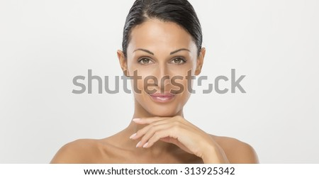 Thirty years tanned woman - stock photo