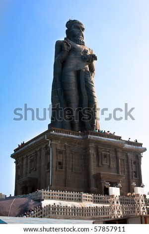 Thiruvalluvar statue on small island near Kanyakumar, Tamil Nadu, India - stock photo