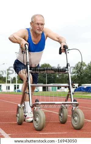 This active senior won't stop sporting, even now that he is using a walker! Caricature of health, sports, disability, ability, getting older, feeling young. - stock photo