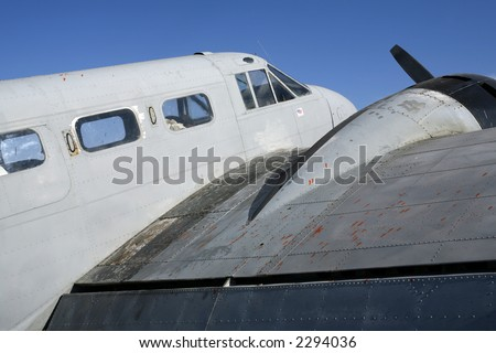 This battered old Twin Beech D-18, reputedly used for drug smuggling, was being ferried from Mexico to California - stock photo