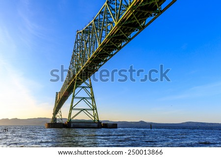 This bridge connects the states of Washington and Oregon at the mouth of the Columbia River. - stock photo
