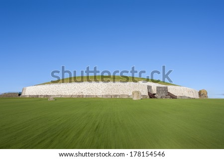 This building is UNESCO World heritage site. Newgrange is over 5000 years old. Located in County Meath, Ireland, its the most famous of Irish prehistoric sites.  - stock photo