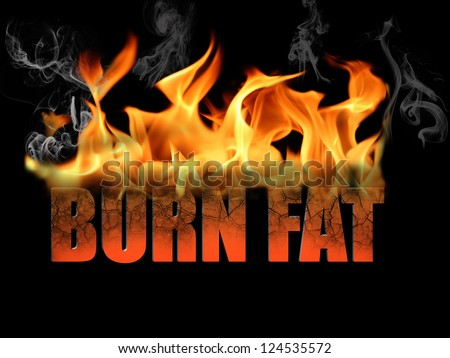 This conceptual digital art is the words burn fat, to show dieting, weight loss, etc, with flame text on a black background. - stock photo