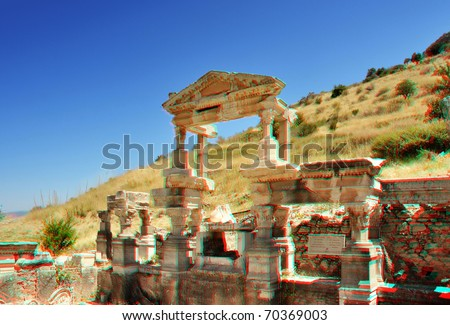 This 3D Anaglyph  photograph represent beautiful heritage ruins of Fountain of Trajan in Ephesus heritage site. Selcuk region, Turkey.