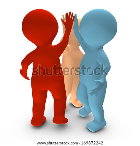 This 3D picture illustrates a high five between three persons that celebrate a success - stock photo