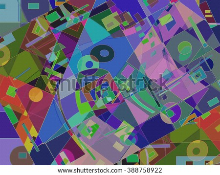 This geometric abstract background in color variations has a strong spatial and optical appeal.  If you're looking for a wild and crazy overall pattern that kids will love, this one's for you!   - stock photo