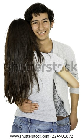 This girl is hagging her boyfriend and give us her back  - stock photo
