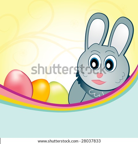 This happy cartoon easter bunny guards his eggs. Uses include: easter egg hunt announcements or scrapbook backgrounds. - stock photo