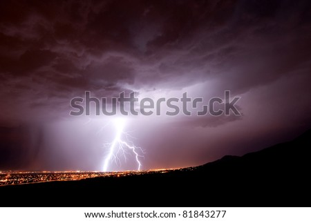 This huge bolt of lightening caused a generator explosion in El Paso, TX - stock photo