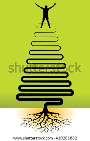 This illustration has a joyful man with tree roots  - stock photo