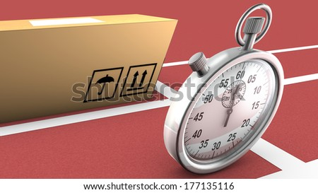 This illustration shows a box and a stopwatch ready to start a race. The concept is that the package can be as fast and accurate as the stopwatch in order to be transported and delivered on time. - stock photo