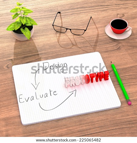 This illustration shows a comfortable desk (plant, coffee) used to work on a new product. After designing and evaluating, the sketch takes a real prototype form. 3D Render. - stock photo