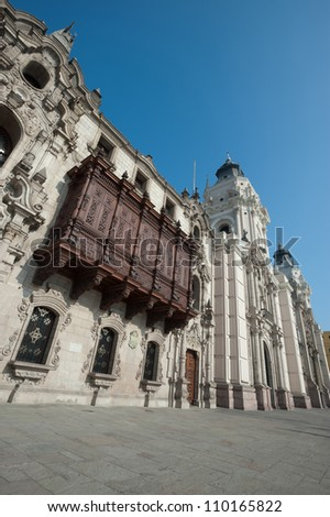 This image show the Cathedral in Plaza Mayor, Lima, Peru - stock photo