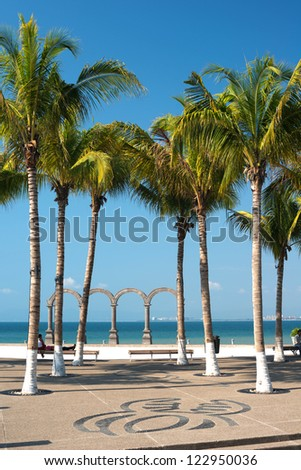 This image shows a boardwalk scenic in Puerto Vallarta, Jalisco, Mexico - stock photo