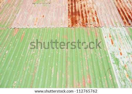 This image shows a pattern of tin roofing on  Cockatoo Island,  Sydney, Australia. - stock photo