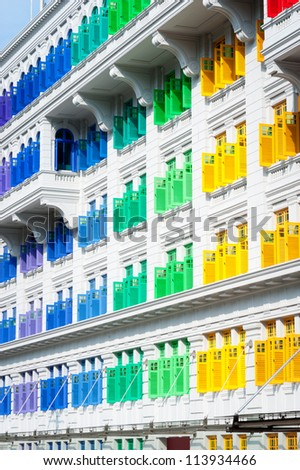This image shows Colorful window shutters at Clark Quay, Singapore - stock photo